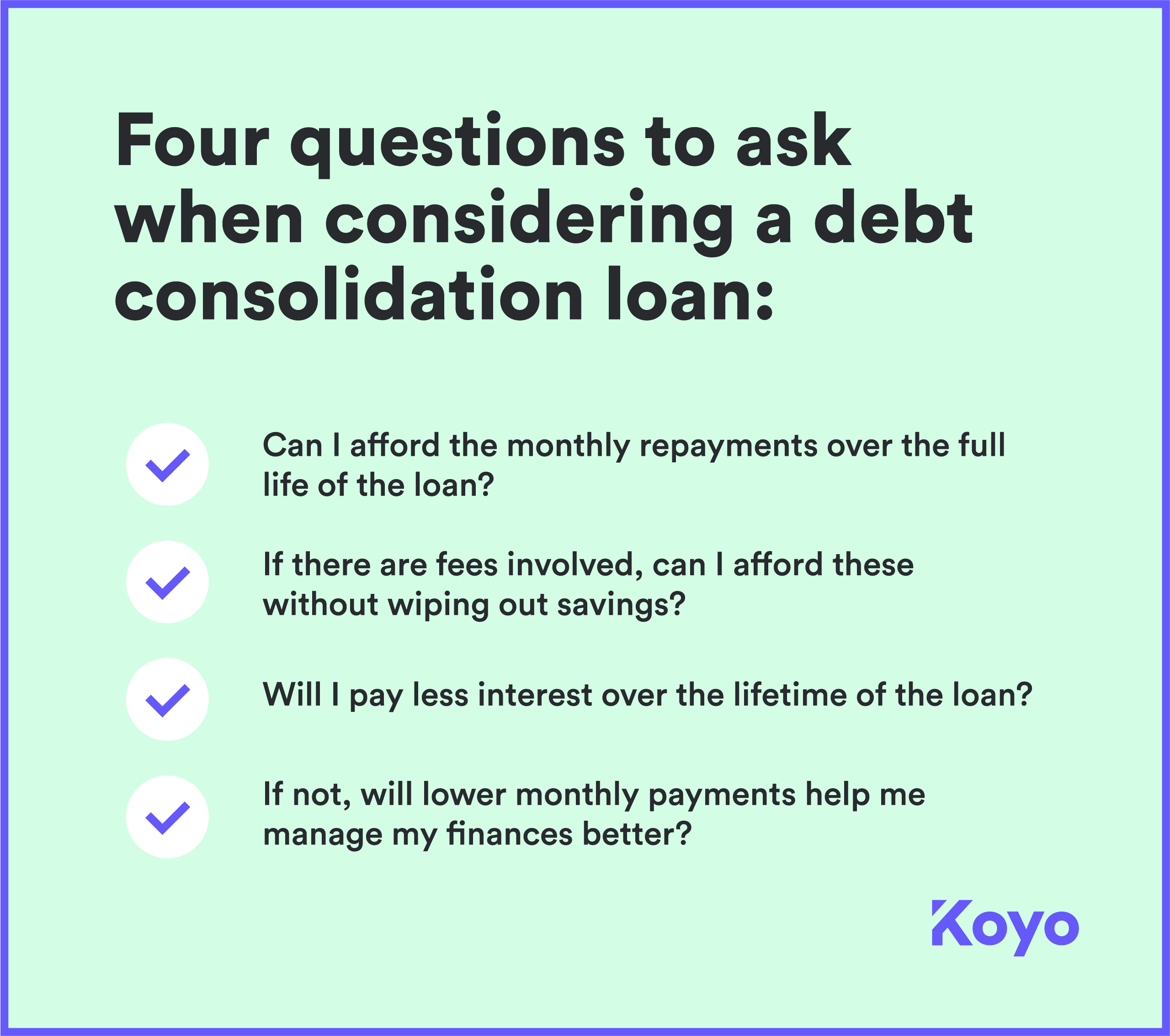 Checklist for debt consolidation